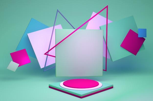 3d gerendertes buntes studio mit blauen und grünen geometrischen formen und leerem rundem, hellrosa podium auf dem boden