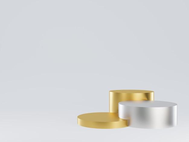 3d gerendertes geometrisches gold- und splitterpodest