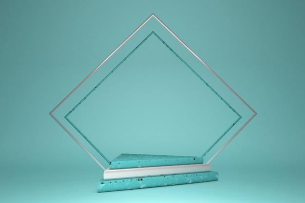3d gerendertes grünes studio mit silbernen geometrischen formen dreiecken, leeres podium auf dem boden. plattformen für die produktpräsentation, mock-up-hintergrund. abstrakte geometrische komposition