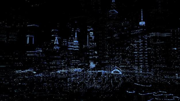 3d gerendertes konzept der digitalen stadt. punktpartikel wolkenkratzer. abstraktes futuristisches technologiekonzept. hologramm-stil. Premium Fotos