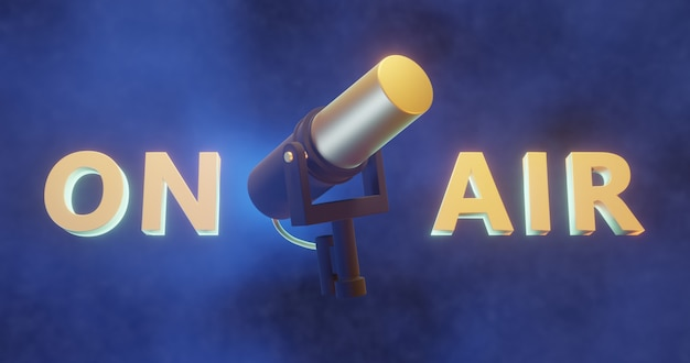 3d gerendertes mikrofon mit on-air-3d-text, podcast-hintergrund