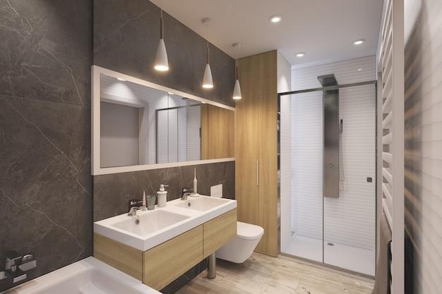 3d gerendertes modern eingerichtetes badezimmer