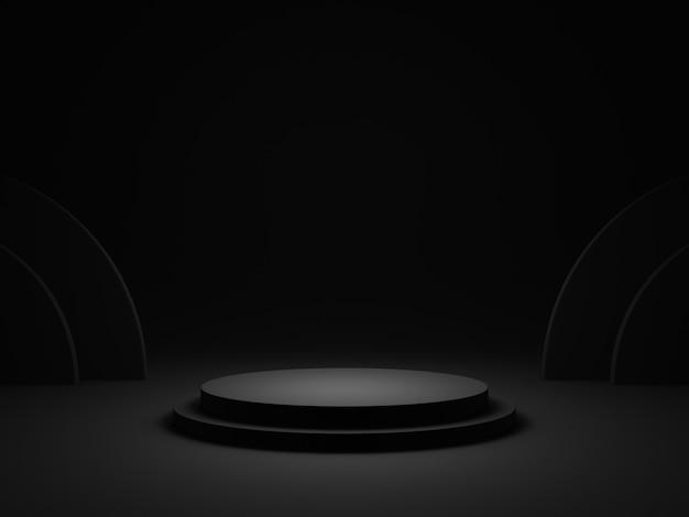 3d gerendertes schwarz gerundetes podium. dunkler hintergrund.