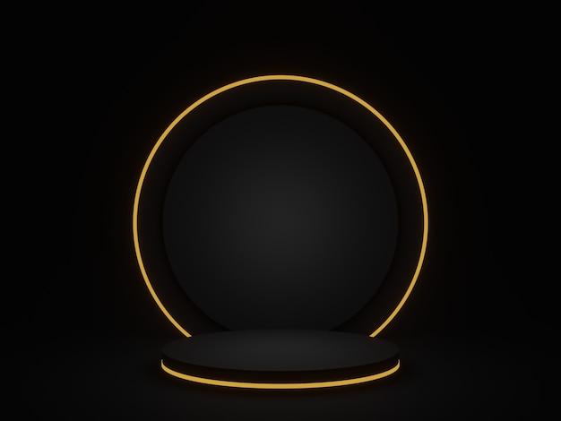3d gerendertes schwarzes geometrisches podium mit goldenem neon