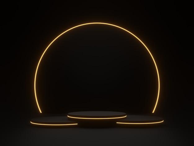 3d gerendertes schwarzes geometrisches podium mit goldenem neonlicht