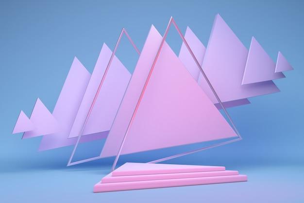 3d gerendertes studio mit pastellrosa dreieck geometrischen formen leeres podium auf blauem hintergrund plattformen für produktpräsentation mock-up hintergrund abstrakte komposition in minimalistischem design