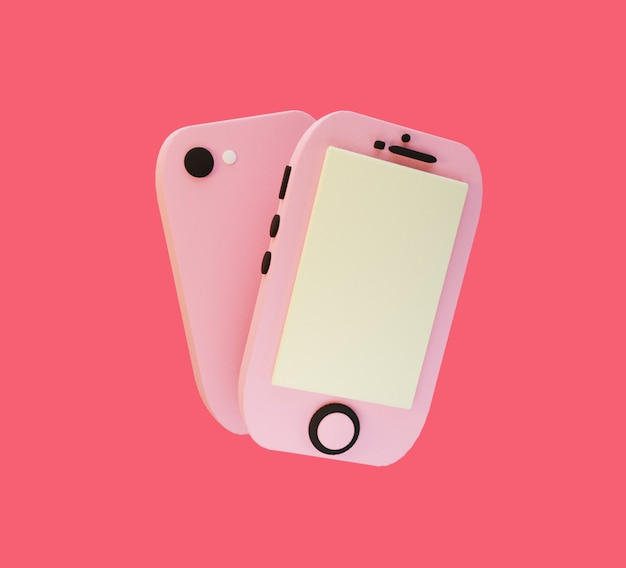 3d gerendertes süßes rosa telefon