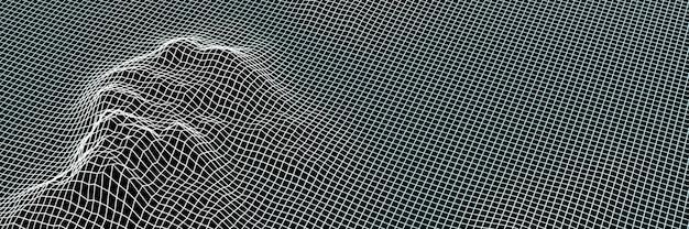 3d gerendertes topografisches gitterdrahtmodell. eisinsel.