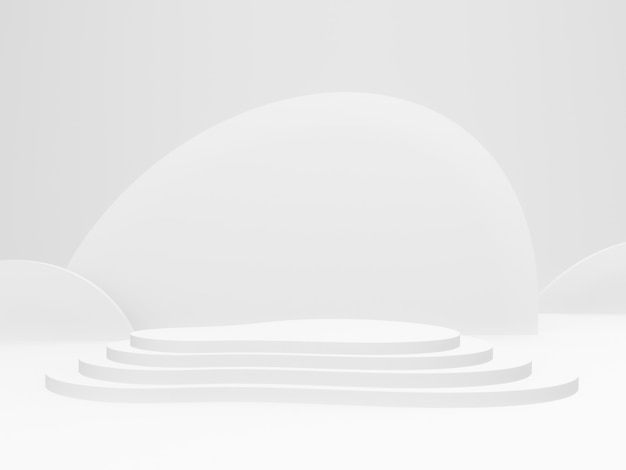3d gerendertes weißes bühnenpodest