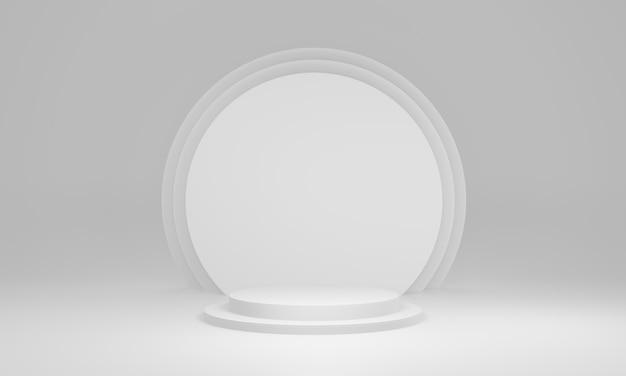 3d gerendertes weißes geometrisches bühnenmodell