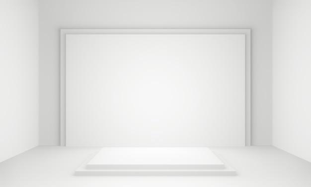 3d gerendertes weißes geometrisches bühnenpodest