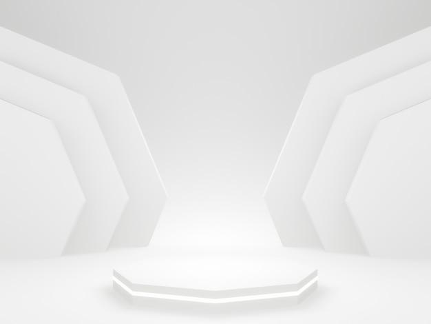 3d gerendertes weißes zehneckpodest.