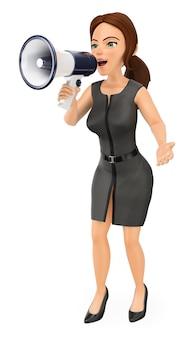 3d geschäftsfrau, die auf einem megaphon spricht