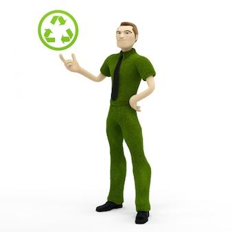 3d-geschäftsmann, der mit recycling-symbol hält