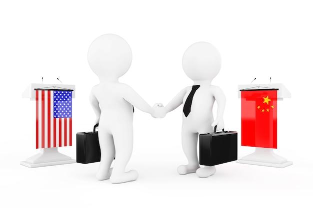 3d geschäftsmann oder politiker charaktere händeschütteln in der nähe von tribünen mit china- und usa-flaggen auf weißem hintergrund. 3d-rendering