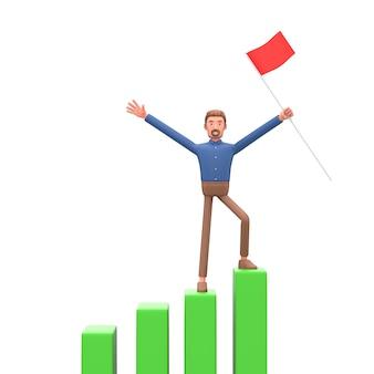 3d-geschäftsmannkonzept des finanziellen wachstums. dashboard mit der analyse der finanzen.3d veranschaulichen.
