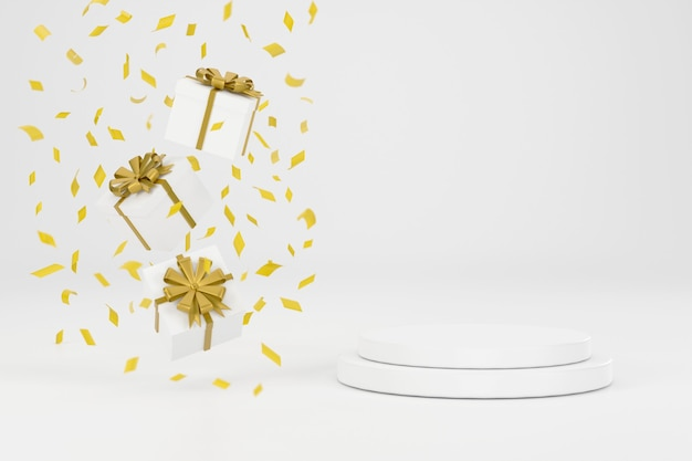 3d. geschenkbox und goldband neben dem podium zur präsentation von produkten