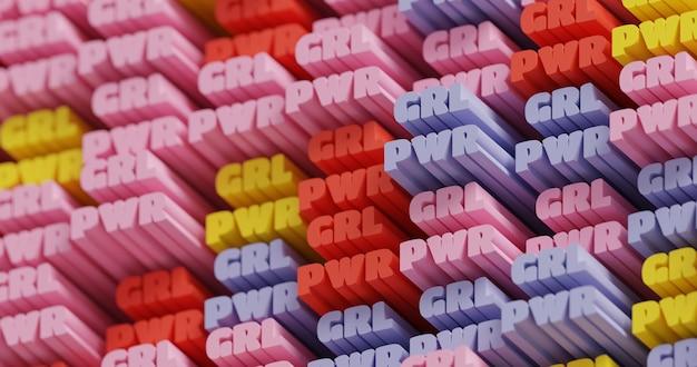 3d-girl-power. abstrakter typografischer 3d-beschriftungshintergrund. modernes helles modisches feministisches wortmuster. banner zur stärkung der frauenbewegung. internationaler frauentag