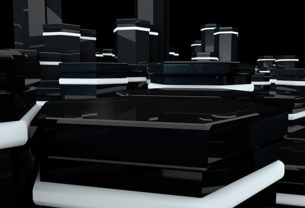 3d glänzend schwarze sechsecke mit leuchtender oberfläche