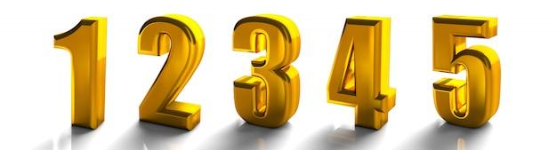 3d glänzende goldene nummer 1 eins bis 5 fünf sammlung hochwertige 3d-render isoliert auf weiß