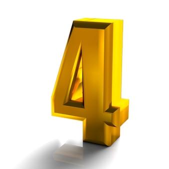 3d glänzende goldene nummer 4 vier sammlung hoher qualität 3d-render isoliert auf weiß
