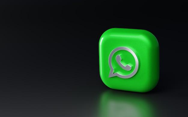 3d glänzendes metallisches whatsapp-logo