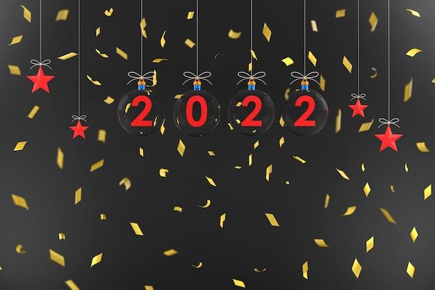 3d. glaskugeln 2020 und stern hängen mit einem seil konzept frohes neues jahr und weihnachten.