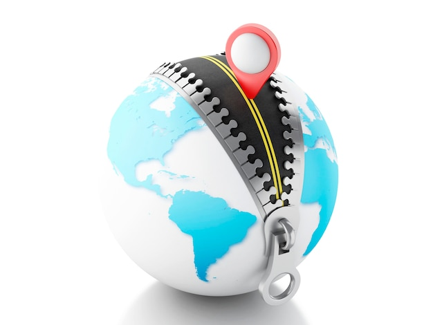 3d globus mit reißverschluss öffnen und einen kartenzeiger