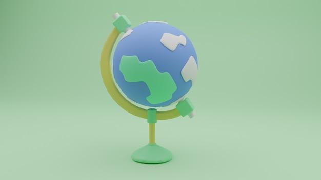 3d-globus-symbol mit einfacher form und hellblauer erde