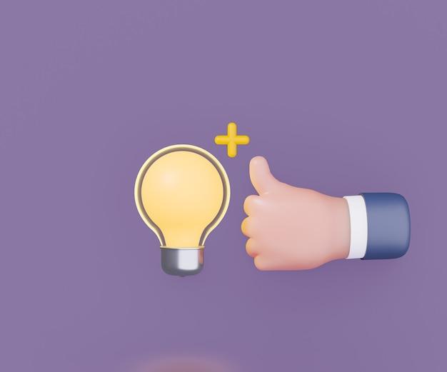3d-glühbirne mit handdaumen nach oben auf lila hintergrund. 3d-darstellungs-rendering.