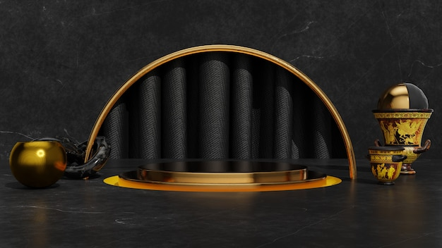 3d gold schwarz abstrakt ein display produktstand design one