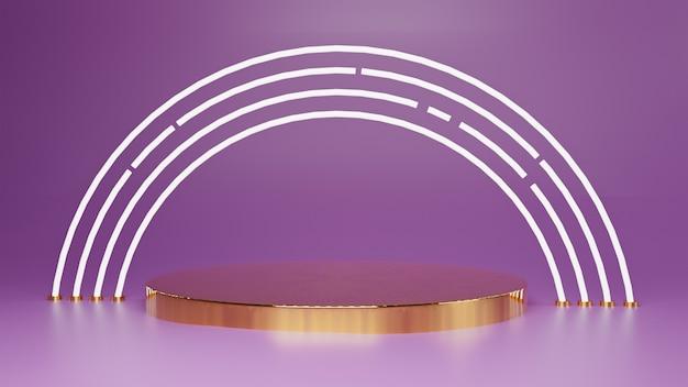 3d gold und weißlicht abstraktes konzept ein display produktstand design one