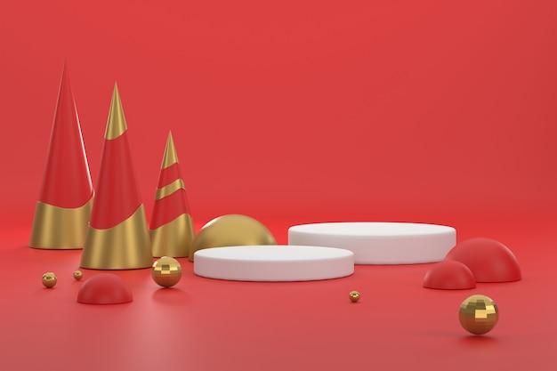 3d. goldener und roter weihnachtsbaum und podest für die präsentation von produkten beim weihnachtsfest.