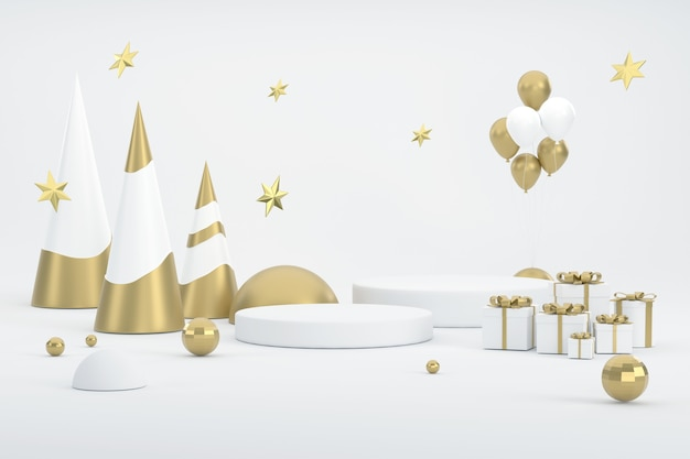 3d. goldener weihnachtsbaum, ballon und prodium für die präsentation von produkten beim weihnachtsfest.