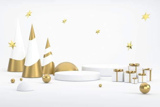 3d. goldener weihnachtsbaum, stern und podium für die präsentation von produkten beim weihnachtsfest.