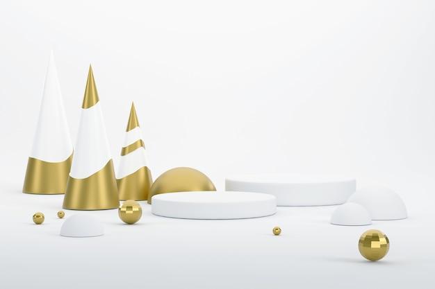 3d. goldener weihnachtsbaum und podest für die präsentation von produkten beim weihnachtsfest.