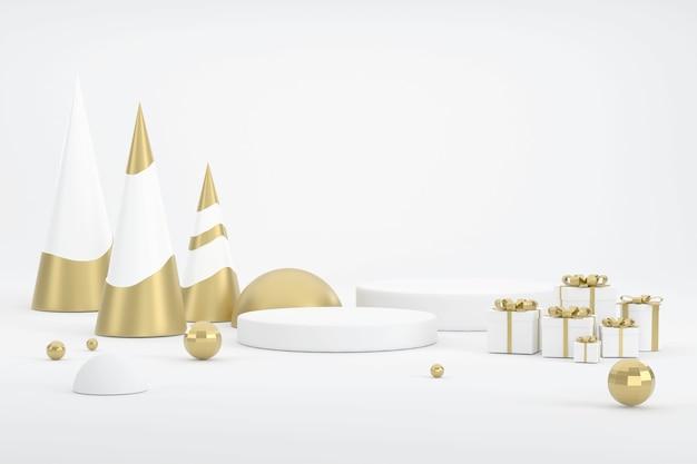 3d. goldener weihnachtsbaum und podest für die präsentation von produkten zu weihnachten.