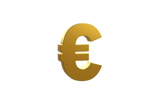 3d goldenes eurozeichen auf weißem hintergrund
