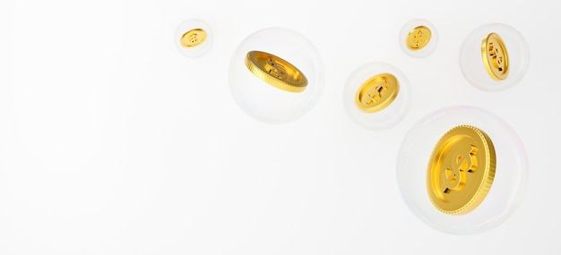 3d goldmünzen fallen in eine seifenblasenseife.