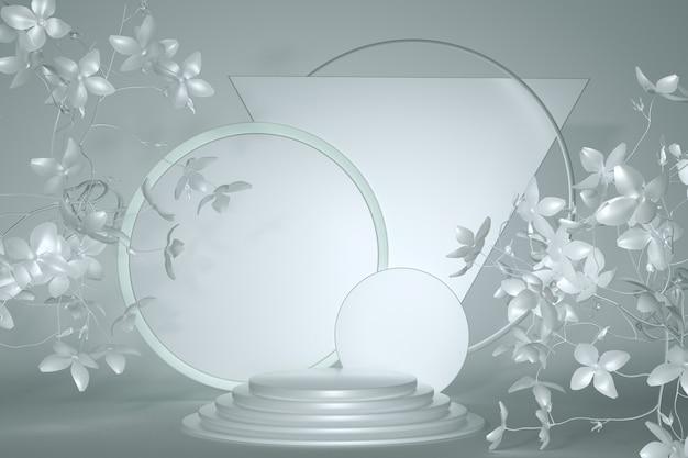 3d-grau-rendering minimales podest mit geometrischer form und abstrakten blumen