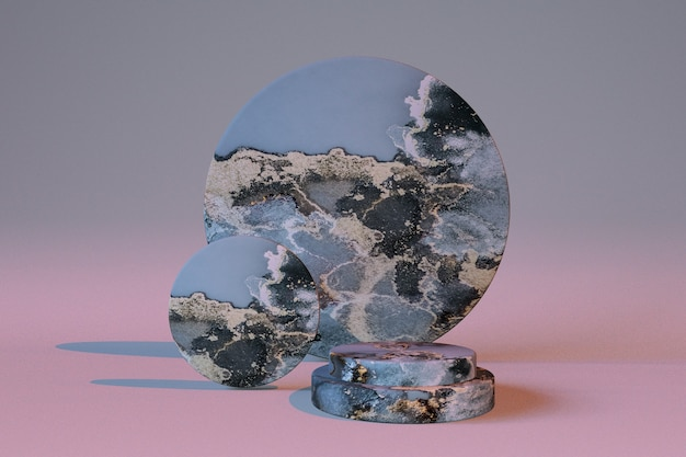 3d graublauer sockel podium marmoreffekt display vitrine für schönheitskosmetikprodukte