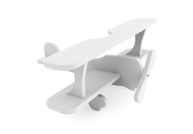 3d graues spielzeugflugzeug auf weißem hintergrund
