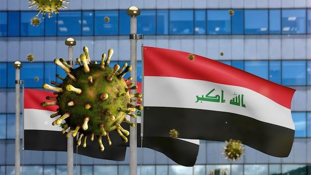 3d, grippe-coronavirus, das über der irakischen flagge mit moderner wolkenkratzerstadt schwebt. irak-banner winken mit pandemie des covid19-virus-infektionskonzepts. fähnrich mit echter stofftextur