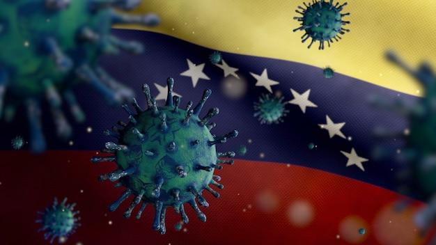 3d, grippe-coronavirus, das über der venezolanischen flagge schwebt, ein krankheitserreger, der die atemwege angreift. venezuela-banner, der mit dem konzept der pandemie des covid19-virusinfektion weht. fähnrich mit echter stofftextur