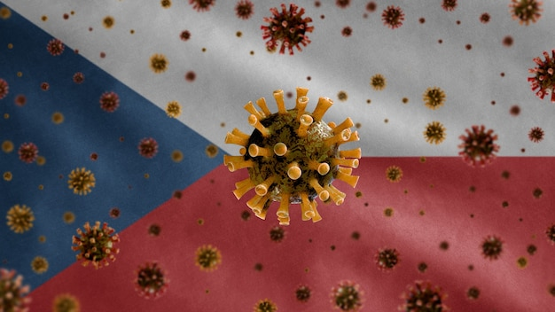 3d, grippe-coronavirus schwebt über der tschechischen flagge, einem krankheitserreger, der die atemwege angreift. tschechische republik vorlage winken mit pandemie des covid19-virus-infektionskonzepts