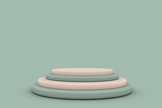 3d grün beige geometrischer runder studiohintergrund für die produktanzeige mit kopienraum für die anzeige von inhaltsdesign 3d-rendering
