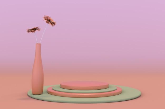 3d grün-rosa-podium auf pastellhintergrund abstrakte szene mit geometrisch und vase mit blume