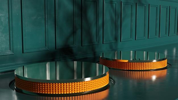 3d grün und orange vintage zwei display-produktständer-design