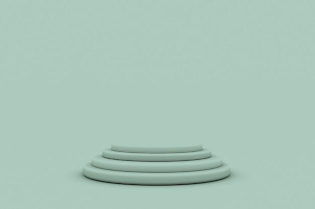 3d grüner geometrischer runder studiohintergrund für die produktanzeige mit kopienraum für die anzeige des inhaltsdesigns 3d-rendering