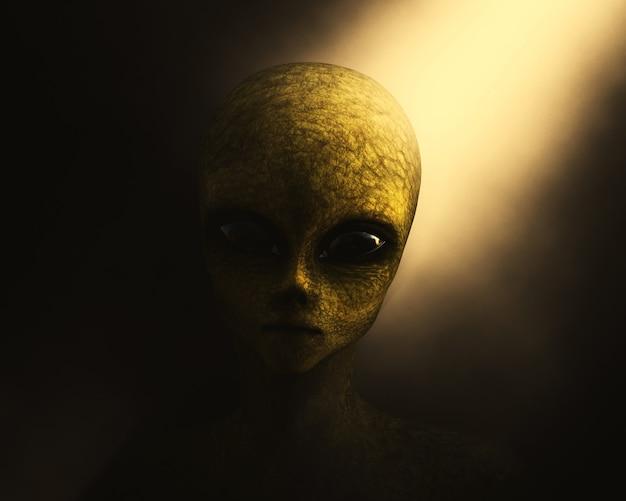 3d grünes alien